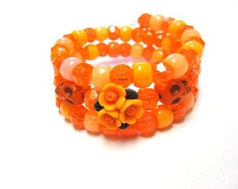 Day Of The Dead Bracelet Sugar Skull Flor de Muertos Tangerine Orange Cuff