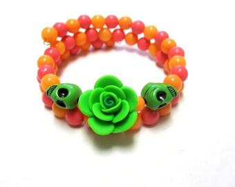 Day Of The Dead Bracelet Sugar Skull Wrap Around Cuff Rose Green Orange