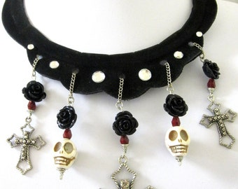 Gothic Noire Day Of The Dead Necklace Earring Set Sugar Skull Cross White Red Black Rose