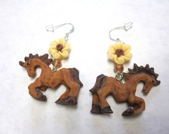 Horse Earrings Western Jewelry Flower Brown Cream