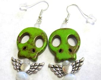 Day Of The Dead Earrings Sugar Skull Green Wings Dangle Earrings