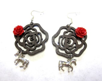 Horse Earrings Western Red Silver Red Rose
