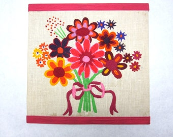 60s Needlepoint Wall Hanging Art Handmade Pop Art Flower Embroidery Pink Yellow Green Orange