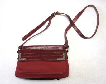 Wine Red Purse Faux Suede Cranberry Handbag Shoulder Bag