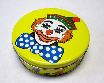 Circus Tin Clowns Balloons Elephants Yellow Collectible Candy Cookie Can