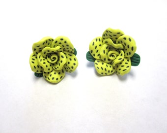 Lime Green Flower Earrings Polka Dot Post Floral Rose