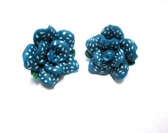 Blue Flower Earrings Post White Polka Dot Floral