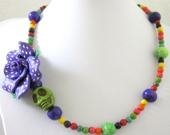 Sugar Skull Necklace Day of the Dead Green Pink Purple Rose Polka Dot