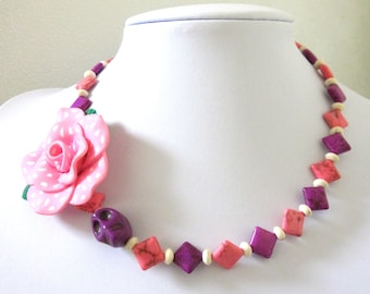 Sugar Skull Necklace Day of the Dead Polka Dot Rose Pink Purple