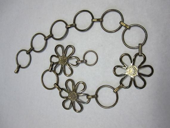 Vintage  60's Daisy Flower Chain Belt