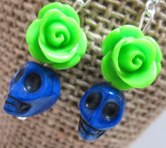 Lime Green Roses w/Cobalt Baby Sugar Skulls Earrings