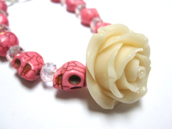 Day of the Dead Bracelet Jewelry Pretty in PINK Baby Sugar Skull & BIG Ivory Rose Bracelet