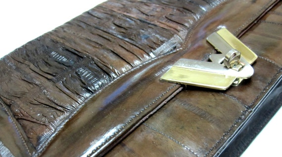 Vintage Eel Skin Purse Brown Envelope Style Shoulderbag / Clutch