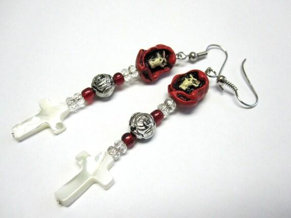 Grim Reaper Earrings Day Of The Dead Jewelry Skull Cross Rose Black Red White