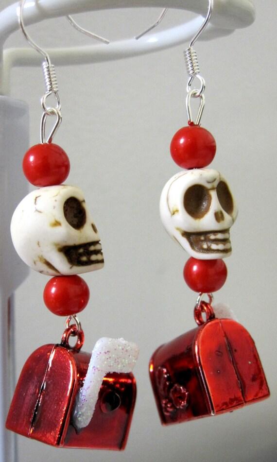 Skull Christmas  Earrings Red  White  Baby Skull