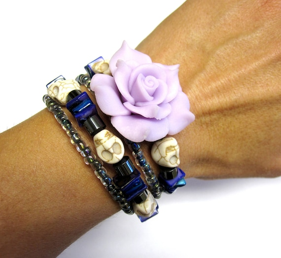 Sugar Skull Rose Bracelet Zombie Girl Day of the Dead Cuff Wrap