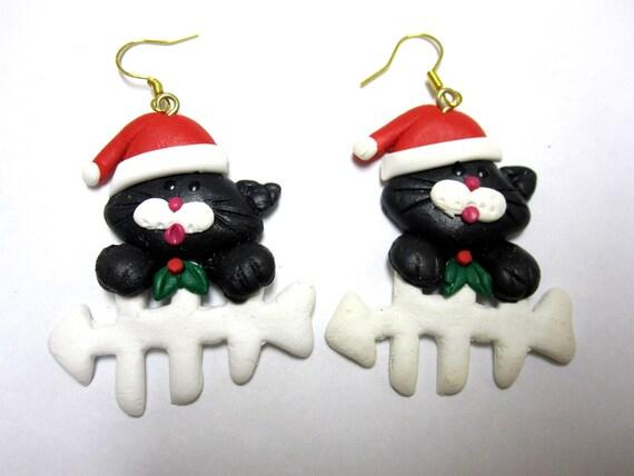 Kittens in Santa Hats Earrings Holiday Christmas