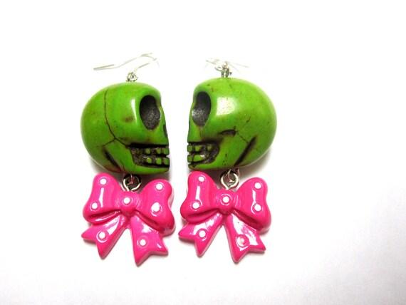Lime Green Zombie Sugar Skull Earrings & Hot Pink Bow Dangles