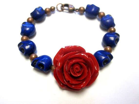 Day Of The Dead Sugar Skull Bracelet  Deep Blue Red Rose Jewelry