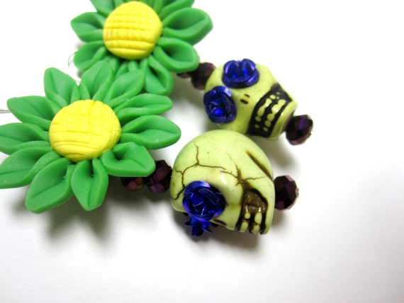 Day of the Dead Earrings Sugar Skull Jewelry Zombies Daisies