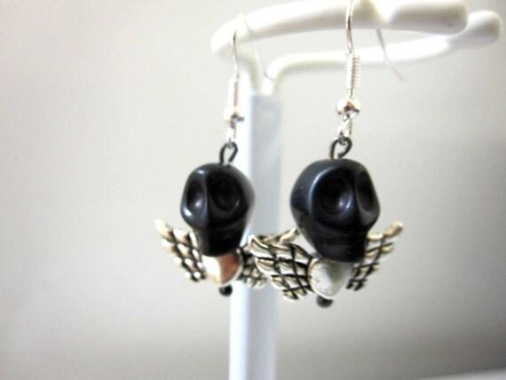 Black Sugar Skull Earrings & Hearted Angel Wing Earrings