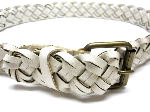 70s Mod Thick White Braided Leather Belt