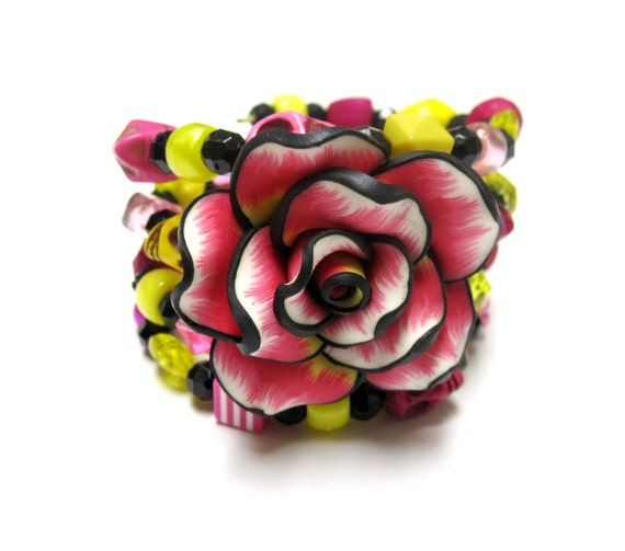 Tropical Paradise Sugar Skull Bracelet Day of the Dead Wrap Yellow, Black, & Pink