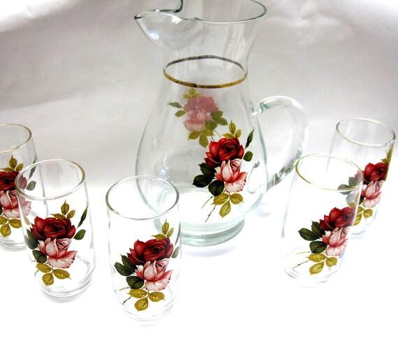 Reserved For J Sweet Tea Roses Pitcher Glasses Set Of 5 Rose Glass  Midcentury Vintage