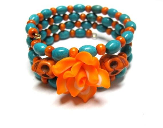 Turquoise & Tangerine Day of the Dead Bracelet Sugar Skull Wrap Around Cuff