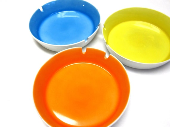 70s Modern Ashtray Set of 3 Bright Hot Colors Tangerine Orange Lemon Yellow Caribbean Blue