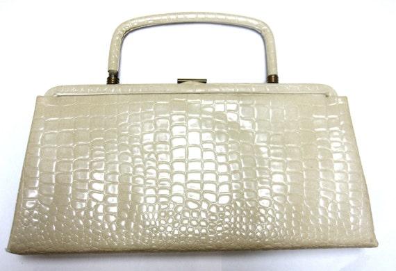 Ivory Handbag 1960's Ande Cream Purse Firmsided Clutch