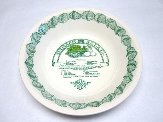 Recipe Salad Bowl Dish Royal China Spinach Green White Decorative Serving