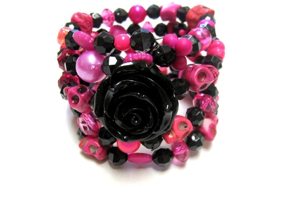 Day Of The Dead Bracelet Sugar Skull Wrap Cuff Hot Pink Black Rose