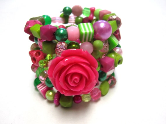 Sugar Skull Bracelet Day Of The Dead Cuff Wrap Hot Pink Green White Rose