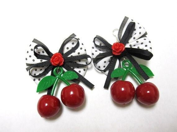 Rockabilly Jewelry Fresh Fruit Cherry Earrings