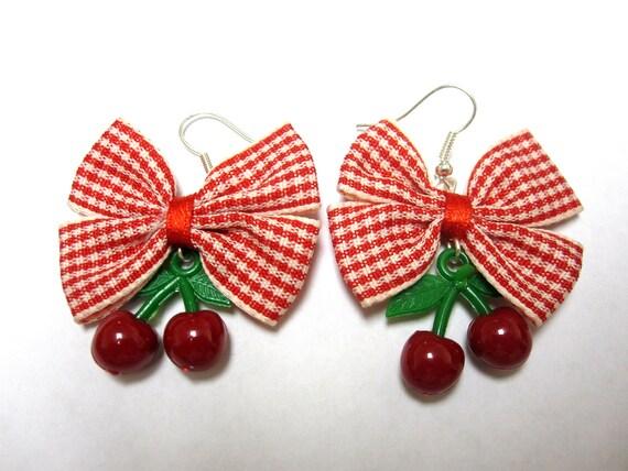 Rockabilly Jewelry Fresh Fruit Cherry Earrings Day Of The Dead