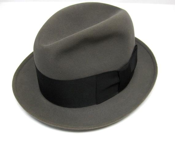 33cb6d9c0ed26 Watson s Hat Shop 1930s Fedora Hats  Knox Twenty Fedora Hat Gray Black Bow  Ribbon Trim 1930s Mens