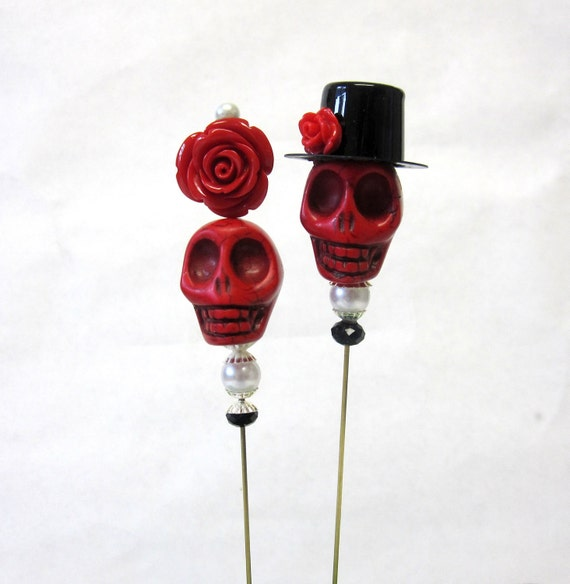 Day of the Dead Cake Topper GIANT Sugar Skull Gothic Wedding Lapel Pin Hat Pin Bride & Groom - Rockabilly Red Sweeties