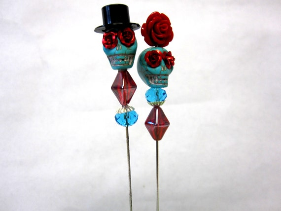 Mr & Mrs Sparkles Day of the Dead Cake Topper Sugar Skull Gothic Wedding Lapel Pin Hat Pin Bride Groom - Rockabilly Sweeties