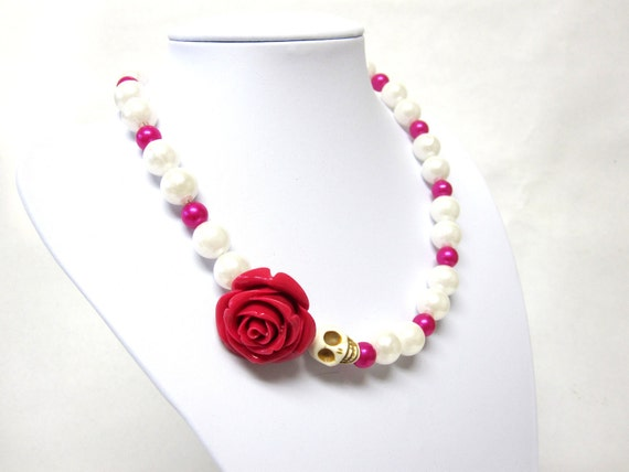 Day of the Dead Sugar Skull Necklace Magenta Rose & White Faux Pearls