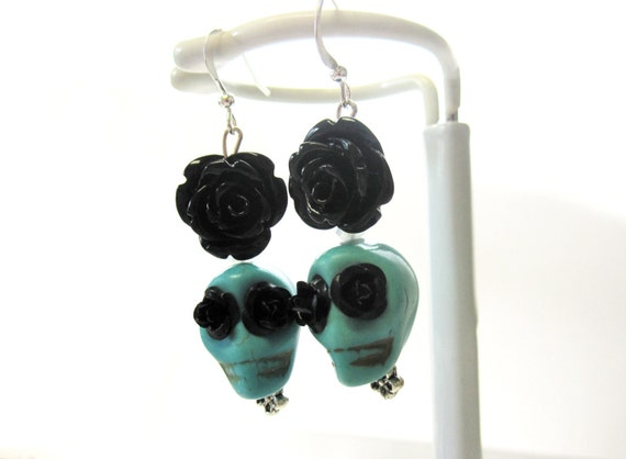 Sugar Skull Earrings Gothic Gypsy Jewelry Day of The Dead