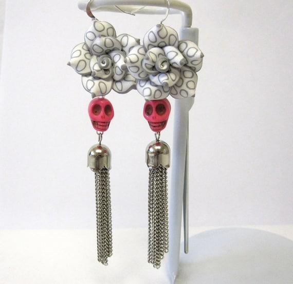 Day of the Dead Sugar Skull Earrings Long Gothic Lolita Pink Skulls & Rose Earrings