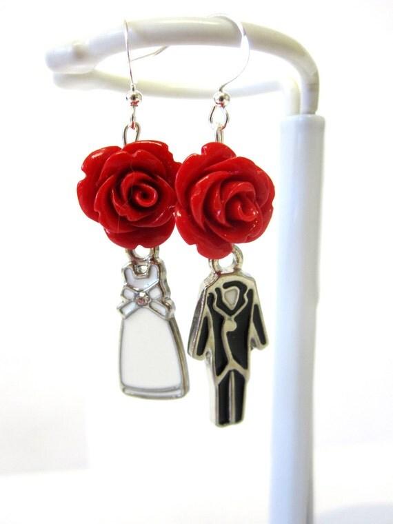 Wedding Bride Groom Earrings Red Roses Black White Dangle