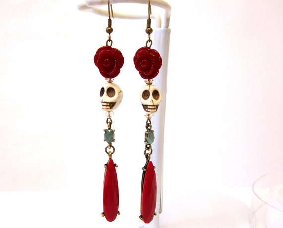 Roaring 20's Style Sugar Skull Earrings Day of the Dead Jewelry Ivory Skulls & Red Roses Long Dangles