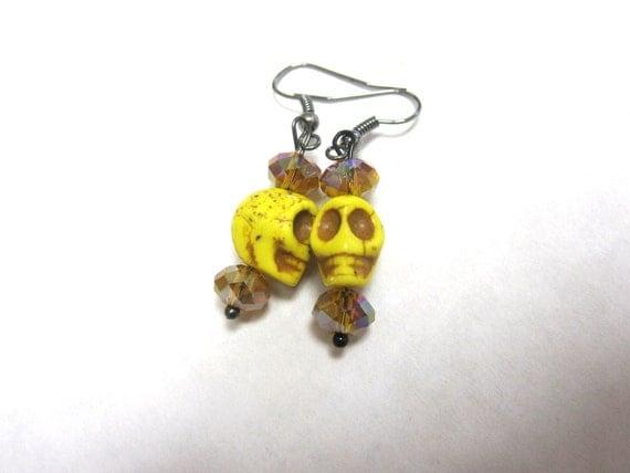 Yellow Sugar Skull Earrings Day Of The Dead Dangle