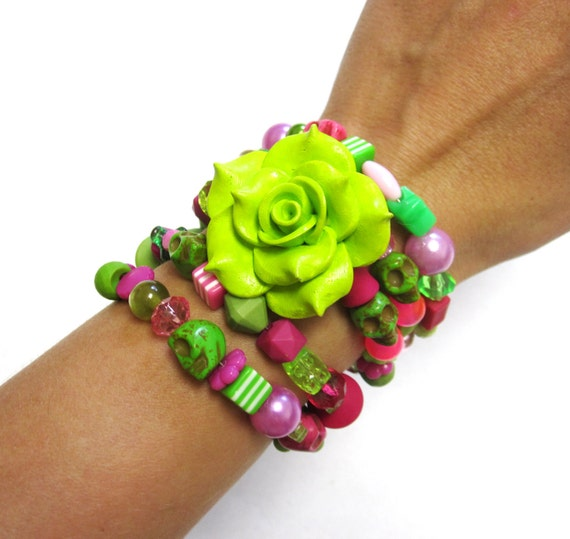 Day Of The Dead Bracelet Sugar Skull Wrap Cuff Rose Cuff Pink Lime Green