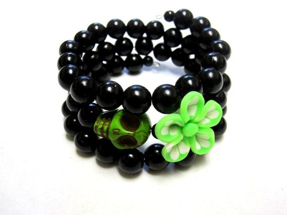 Green Flower Day of the Dead Bracelet Sugar Skull Wrap Bracelet Black