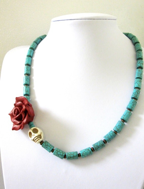 White Red Rose Day of the Dead Necklace Sugar Skull Jewelry Turquoise Blue