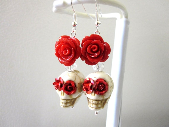 Day of the Dead Earrings Sugar Skull Jewelry White Red Roses