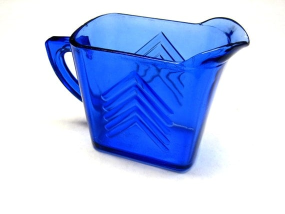 Colbalt Blue Glass Pitcher Arrow Pattern Square Rectangle Syrup Creamer